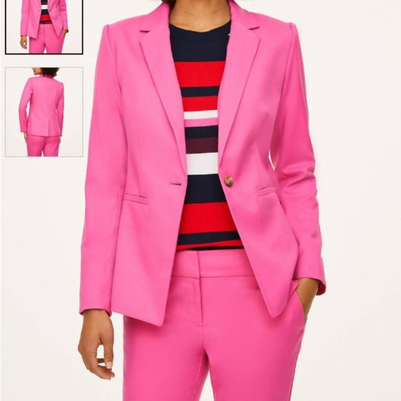 LOFT outlet • one button blazer • pink • sz 4